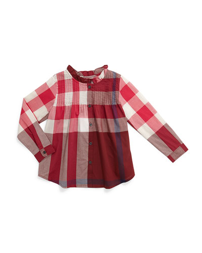 Bretta Long-Sleeve Check Top, Burgundy, Size 4-14
