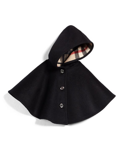 Rose Hooded Button-Front Cape, Black, Size M-L