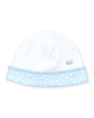 Cotton Snow-Print Beanie, White