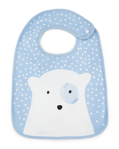 Knit Cotton Snow Bib, Blue/White