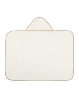 Hooded Contrast-Trim Towel, Ivory/Beige