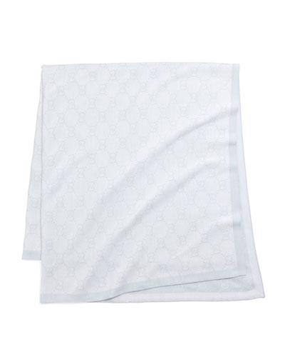 GG Logo Baby Blanket, Ivory/Gray