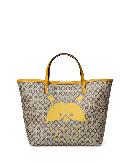 3b67e2affd7 Gucci Girls  Micro GG Supreme Raccoon-Graphic Tote Bag