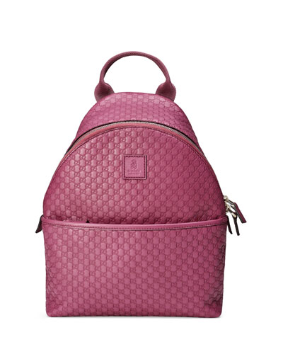 Girls' Microguccissima Leather Zip-Top Backpack, Pink
