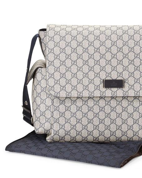 8b4cfd510b3e Gucci Guccissima Faux-Leather Diaper Bag w/ Changing Pad, Beige/Blue