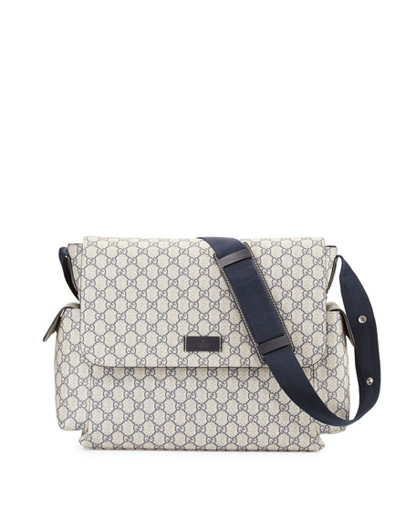 Guccissima Faux-Leather Diaper Bag w/ Changing Pad, Beige/Blue