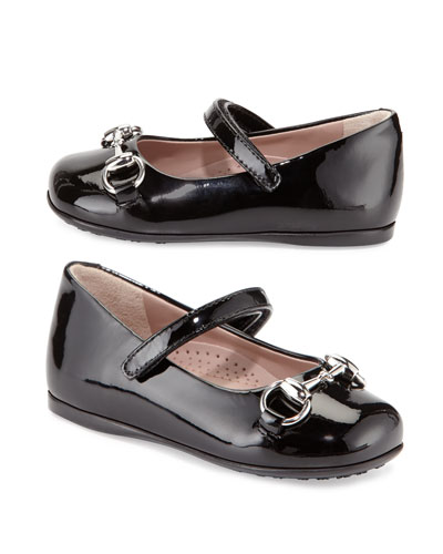Lillian Patent-Leather Mary Jane Flat, Black, Toddler