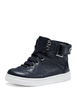 Leather High-Top Sneaker, Navy, Toddler