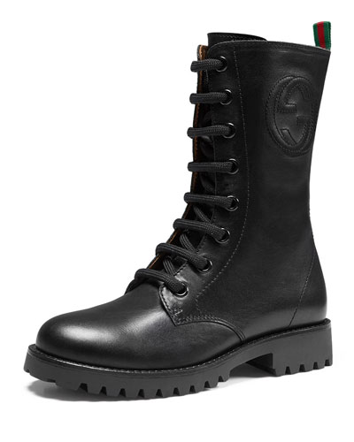 Nina Leather Combat Boot, Black, Junior