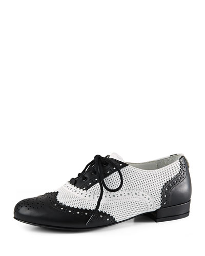 Georgia Leather Oxford, Black/White, Youth