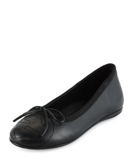 Leather Soho Ballet Flat, Black, Youth
