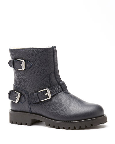 Leather Buckle-Trim Bootie, Blue, Youth