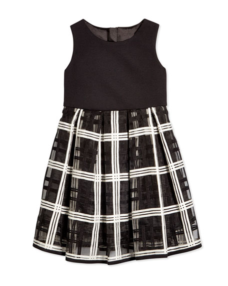 Embroidered-Organza Pleated Dress, Black/White, Size 4-7