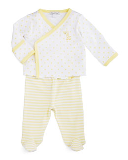 Fun and Games Pima Footie Pajama Set, White/Yellow, Size Newborn-6 Months