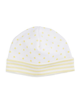 Fun and Games Polka-Dot Pima Baby Hat, White/Yellow