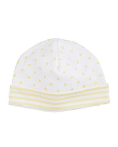 Fun and Games Polka-Dot Pima Baby Hat, White/Yellow