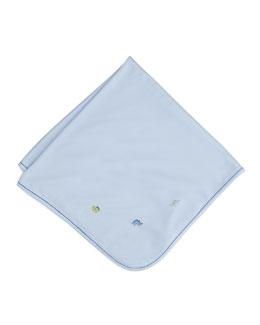 Scattered Dinosaur Soft-Knit Pima Blanket, Light Blue