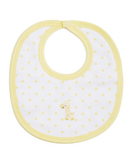 Fun and Games Polka-Dot Pima Bib, White/Yellow