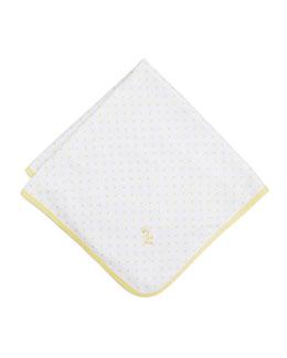 Fun and Games Polka-Dot Pima Blanket, White/Yellow