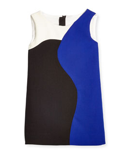 Colorblock Sleeveless Shift Dress, Cobalt, Size 4-7