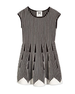 Vertical-Stripe Fit-and-Flare Dress, Black/White, Size 4-7