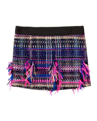 Fringe-Trim Tweed Skirt, Black/Multicolor, Size 4-7