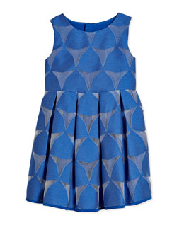 Prism Fil Coupe Pleated Dress, Cobalt, Size 8-14