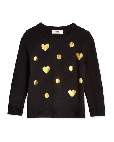 Foil-Print Crewneck Sweater, Black, Size 8-14