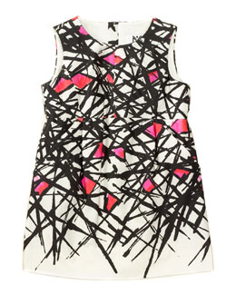 Coco Abstract A-Line Dress, White/Black/Pink, Size 8-14