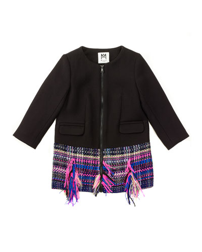 Tweed-Hem Zip-Front Combo Jacket, Black/Multicolor, Size 4-7