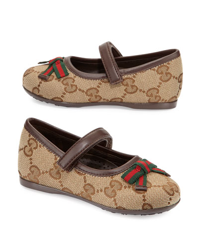 Marylin Leather-Trim Mary Jane Flat, Toddler