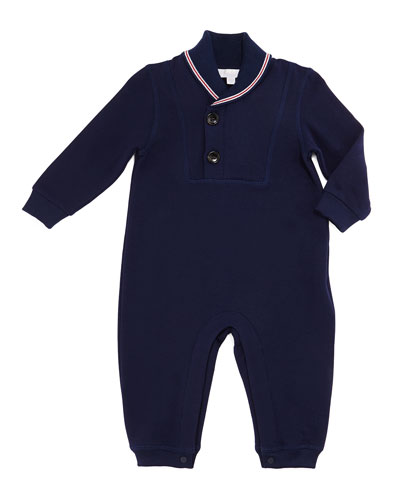 Shawl-Collar Jersey Coverall, Blue, Size 3-18 Months