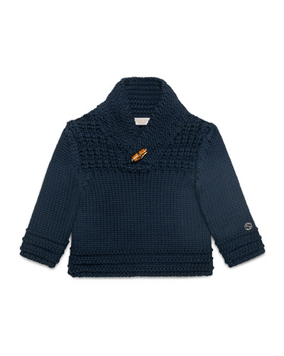 Long-Sleeve Shawl-Collar Pullover Sweater, Navy, Size 12-36 Months