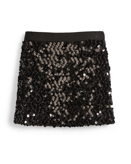 Sequin Mini Skirt, Black, Size 4-7