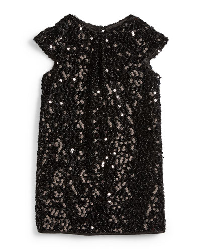 Sequin Cap-Sleeve Shift Dress, Black, Size 4-7