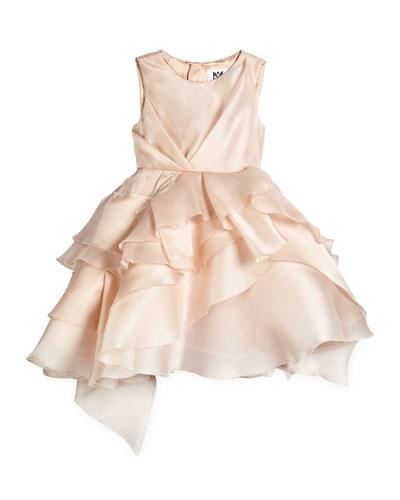 Tara Silk Tiered Cocktail Dress, Blush, Size 4-7