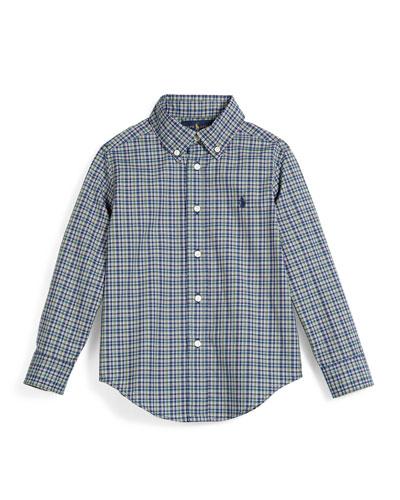 Check-Print Poplin Shirt, Size 2T-7
