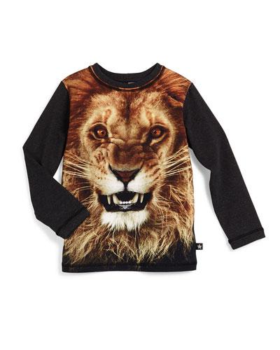 Reto Lion-Print Jersey Tee, Gray/Multicolor, Size 4-14