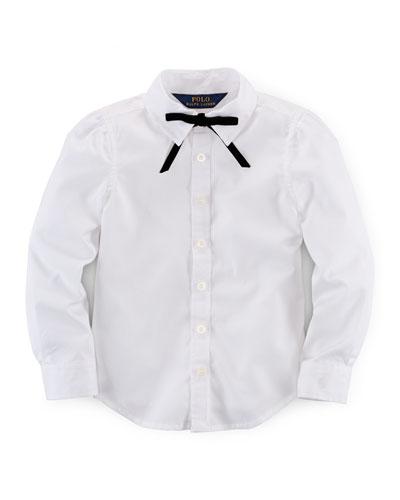 Cotton Broadcloth Shirt w/ Tie, White, Size 2T-6X