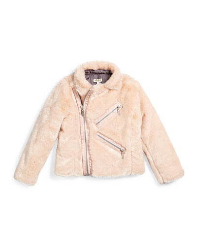 Faux-Fur Zip-Front Jacket, Light Pink, Size 14-16