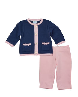 Button-Front Cotton Cardigan & Stretch-Knit Pants, Navy/Pink, Size 2T-4T