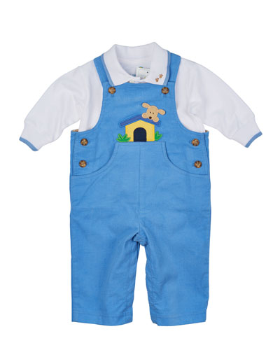 Doghouse Corduroy Overalls & Long-Sleeve Polo Shirt, Light Blue/White, Size 6-18 Months