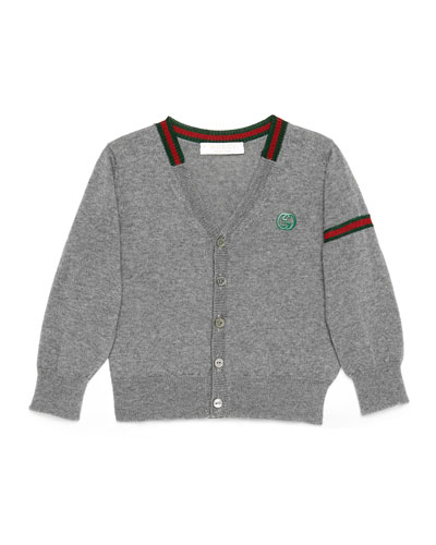 Long-Sleeve Wool Button-Front Cardigan, Gray, Size 6-36 Months