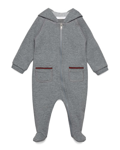 Hooded Zip-Front Raglan Footie Pajamas, Gray, Size 0-18 Months