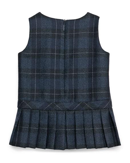 Sleeveless Plaid Double-Breasted Dress, Navy/Gray