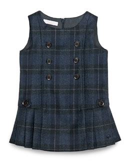 Sleeveless Plaid Double-Breasted Dress, Navy/Gray