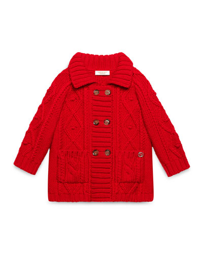 Double-Breasted Cable-Knit Wool Jacket, Red, Size 6-36 Months