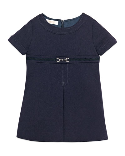 Short-Sleeve Gabardine Dress, Blue, Size 9-36 Months