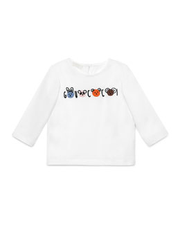 Long-Sleeve Animal-Graphic Jersey Tee, White, Size 6-36 Months