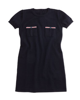 Short-Sleeve Wool Shift Dress, Navy, Size 6-36 Months